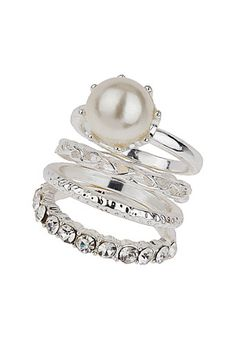 Pearl Stack Rings , pretty and versatile All That Glitters, Wallis, Stacking Rings, Pearls, Clothes For Women, Womens Fashion, Pretty, Floral, Beauty