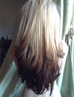 blonde-to-black reverse ombre hair