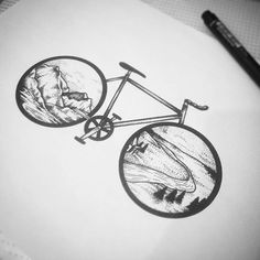 Bike and nature tattoo - Diy Tattoo Permanent Cycling Tattoo, Bicycle Tattoo, Bike Tattoos, Small Quote Tattoos, Small Tattoos With Meaning, Cute Small Tattoos, Small Quotes, Blackwork, Tattoo Diy