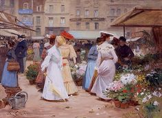 View THE FLOWER MARKET By Victor-Gabriel Gilbert; Access more artwork lots and estimated & realized auction prices on MutualArt. Romantic Paintings, Beautiful Paintings, Vintage Paintings, Art With Meaning, Flowers For Sale, Flower Market, Flower Shops, Painting People, Art Themes