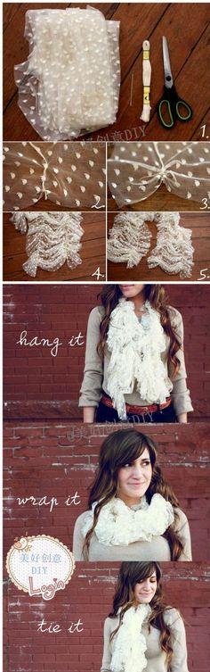 cute scarf Tülden Fular Yapımı | Mamontenka