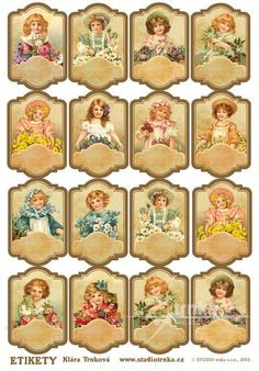 Samolepicí etikety bez nápisu 18, 1 arch, holčičky Vintage Christmas Cards, Arches, Advent Calendar, Free Printables, Retro, Holiday Decor, Frame, Handmade, Home Decor