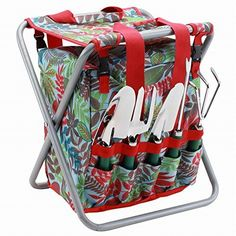 This is a folding seat and detachable storage tote all-in-one. The storage tote has easily accessible zippered openings, and it conveniently holds five metal garden tools on the exterior of the tote.