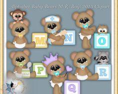 Baby Boy Clipart Teddybären mit Krippe und von MagicmakerScraps