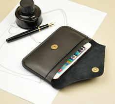 iPhone 6+ leather wallet case by iLeatherStore $26