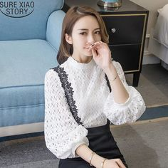Women solid  Blusas 2017 spring summer new lantern sleeves shirt lace blouse hollow out lace plus size female tops 811A 30