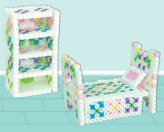 Did you know that you can make real, working 3-D doll furniture using Perler beads? I would have flipped over this when I was a kid! :)