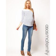 Asos Maternity Skinny Jean In Mid Blue ($53) via Polyvore