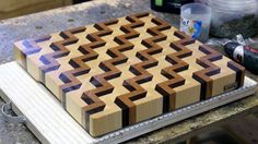 An inspirational video from Andrei at MTM Wood in Russia. When those walnut, maple and cherry strips get rotated, you can just tell that woodworking is this guy's passion. Watch as he makes a End Grain Cutting Board – Enjoy! End Grain Cutting Board, Diy Cutting Board, Wood Cutting Boards, Woodworking Plans, Woodworking Projects, Youtube Woodworking, Wood Plans, Wood Turning, Wood Crafts