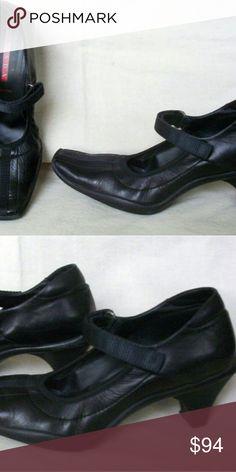 "PRADA  Black Leather Mary Jane's  7.5 Soft ""calfskin"" Leather Pre-loved Mary Janes - Prada Shoes Heels"