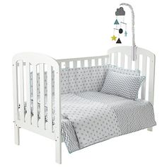 Buy John Lewis Baby Chevron and Stars Cot/Cotbed Cotton Duvet Set, Grey Online at johnlewis.com