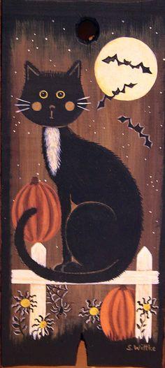 Halloween and Christmas Folk Art Hand Hand by RavensBendFolkArt