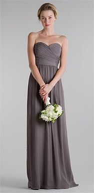 Long gray dress for bridesmaids and then add pale yellow and white flowers