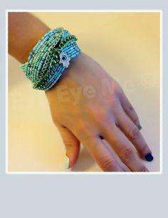 Wide Light BlueMetallic Green Khamsa Bracelet by EvilEyeMe on Etsy, $29.99