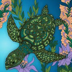 Coloring Book Art, Adult Coloring, Mermaid Pictures, Mermaid Coloring, Turtles, Colorful, Gallery, Artwork, Animals