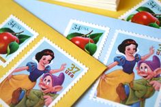 Snow White Stationery Disney Animation Princess Postage Stamped Letter Writing Gift Set on Etsy, $29.00