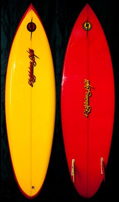 Lightning Bolt Classic 70′s yellow and red air-spray round-pin with MR Star Fins. #surfboard