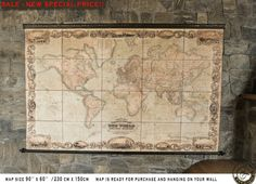 Amazing world map 1800  Readable details 90'' x 60''  230 by Zmaps