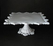 Vtg Westmoreland Square Pedestal Cake Plate Stand Ring & Petal Milk Glass Ex!!