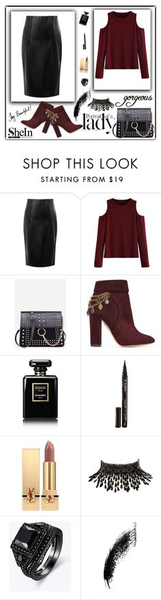 """SheIn 2/1"" by dinna-mehic ❤ liked on Polyvore featuring WithChic, Aquazzura, Chanel, Smith & Cult, Yves Saint Laurent, Amrita Singh, Inez & Vinoodh and shein"