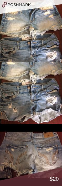 """Hollister shorts lot of 2 Size: 1  Brand: Hollister Condition: Gently Used  Measurement inseam 2.25""""  Ripped shorts with a medium wash featuring fading and whiskering, folded fray hem, five-pocket styling and iconic back pocket stitching Hollister Shorts Jean Shorts"""