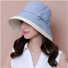 1ebe36d4368 Color block bucket hat with bow for women UV protection sun hats