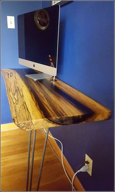Live Edge Rainbow Poplar Slab Desk or Coffee Table with Hairpin Legs - Made to Order live edge rainbow poplar desk coffee table rustic wood slab wall mounted hairpin legs modern computer desk slab desk slab coffee table Home Office Furniture, Furniture Making, Minimalist Bed, Live Edge Wood, Built In Desk, Wood Slab, Hairpin Legs, Rustic Wood, Wood Projects