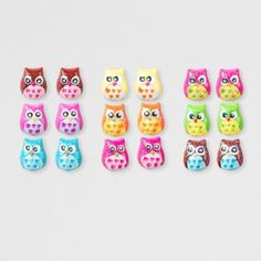 Owl Stud Earrings Set of 9- Owl earrings! So cool!!! :)