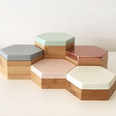 This palette for my office!! Hex Boxes in pastel mint, peach, grey, white and blush mirror rose gold