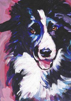 "Border Collie art print dog pop art bright colors 8.5x11"" LEA #bordercollie"