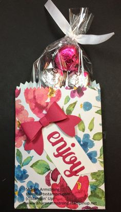 Enjoy Mini Treat bag           Supplies :   ·  Stamp Sets  –  none   ·  Card Stock – Rose Red, Whisper White   ·  ...