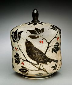 Bird Tea Caddie; porcelain and red underglaze, 8x5x5 in. $165.   Karen Newgard Pottery