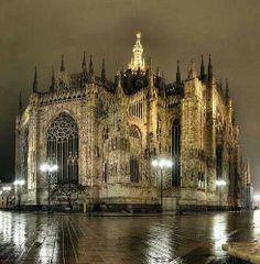 Rainy night in Milan Italy =)