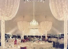 love this idea - looks spectacular and simple lighting ideas for tent wedding Marquee Wedding, Tent Wedding, Indoor Wedding, Dream Wedding, Wedding Venues, Tent Decorations, Reception Decorations, Party Tent Rentals, Cool Lighting