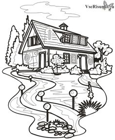 Раскраска Дом (СКАЧАТЬ/РАСПЕЧАТАТЬ) - Строения - Раскраски - Все рисунки карандашом поэтапно