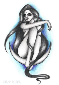 Moon Child, artwork by Lidiane Dutra | Ilustração #illustration #art