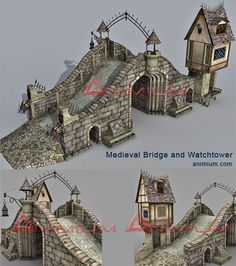 Highly Detailed bridge with towers and watch tower 3d model. High resolution textures.