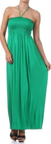 Comfortable Jersey Feel Solid Color Smocked Bodice String Halter Maxi / Long Dress ( Multiple Colors & Sizes ) $22.99