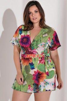 c55e4c373a Macaquinho Plus Size Floral Green Moda Plus Size
