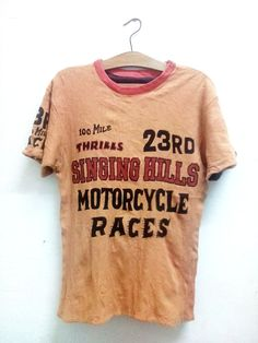Sale Rare !!! Vintage M.W.S Mid century Wild Sport Japanese Pride Brand Singing Hills Motorcycle Races Riversible t-shirt Bamboo Cotton Sz M by Psychovault on Etsy