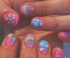 Image about pretty in ⭐️ Nails by Poison Ivy💗 Aycrlic Nails, Swag Nails, Grunge Nails, Bling Nails, Nails Ideias, Kawaii Nails, Funky Nails, Funky Nail Art, Fire Nails