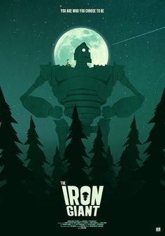 The Iron Giant (Brad Bird, Alternative Poster by Gokaiju Film Poster Design, Creative Poster Design, Movie Poster Art, Old Film Posters, Cinema Posters, Brad Bird, The Iron Giant, Alternative Movie Posters, Science Fiction Art