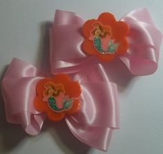 Little Mermaid Hair Bow Set Of 2 by JENSTARDESIGNS on Etsy, $5.00