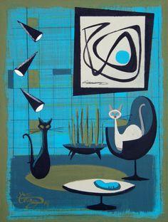 El Gato Gomez Painting Retro Mid Century Modern Eames Eichler Home 1950s Cats | eBay
