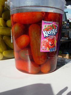 "Anybody ever try ""kool aid pickles""? - - Anybody ever try ""kool aid pickles""? Kool Aid Pickles Recipe, Koolaid Pickles, Pickels, Dessert Recipes, Desserts, Salsa, Roller Rink, Appetizers, Yummy Food"