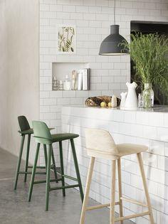 Nerd high stool in dark green by David Geckeler for Muuto.