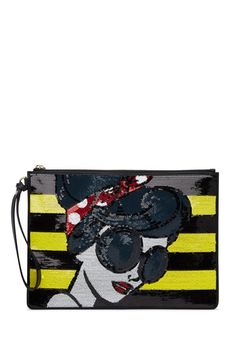 Stace Face Embellished Large Leather Wristlet by alice   olivia on @HauteLook