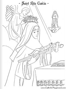 Saint Rita of Cascia coloring page: May 22nd - Catholic Playground