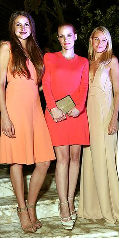 SHAILENE, JESSICA & NAOMI  In a trio of simply chic, colorful frocks by Calvin Klein Collection, the actresses are honored as women in film at an event hosted by the fashion brand and the Independent Filmmakers Project.