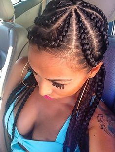 The number styles you can create with cornrows are limitless! Read on our cornrows guide with conrow hairstyles inspiration and different looks you can create. Girl Hairstyles, Braided Hairstyles, Protective Hairstyles, Corn Row Hairstyles, Hairstyles Pictures, Hairstyles 2018, Protective Styles, Cornrows Updo, Jumbo Cornrows
